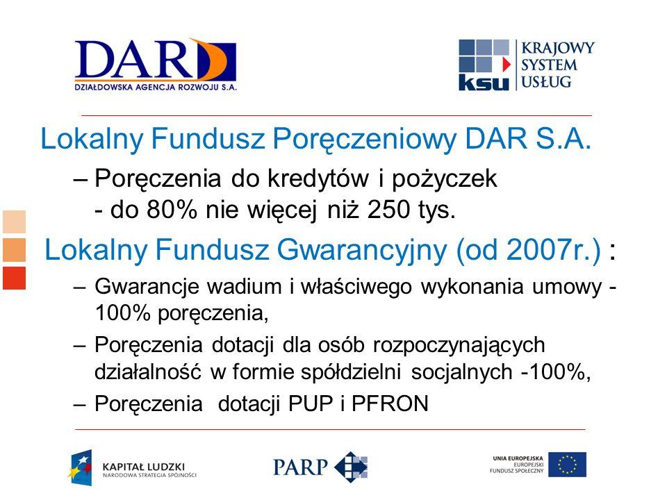 Logo ośrodka KSU Lokalny Fundusz Poręczeniowy DAR S.A. –Poręczenia do kredytów i pożyczek - do 80% nie więcej niż 250 tys. Lokalny Fundusz Gwarancyjny