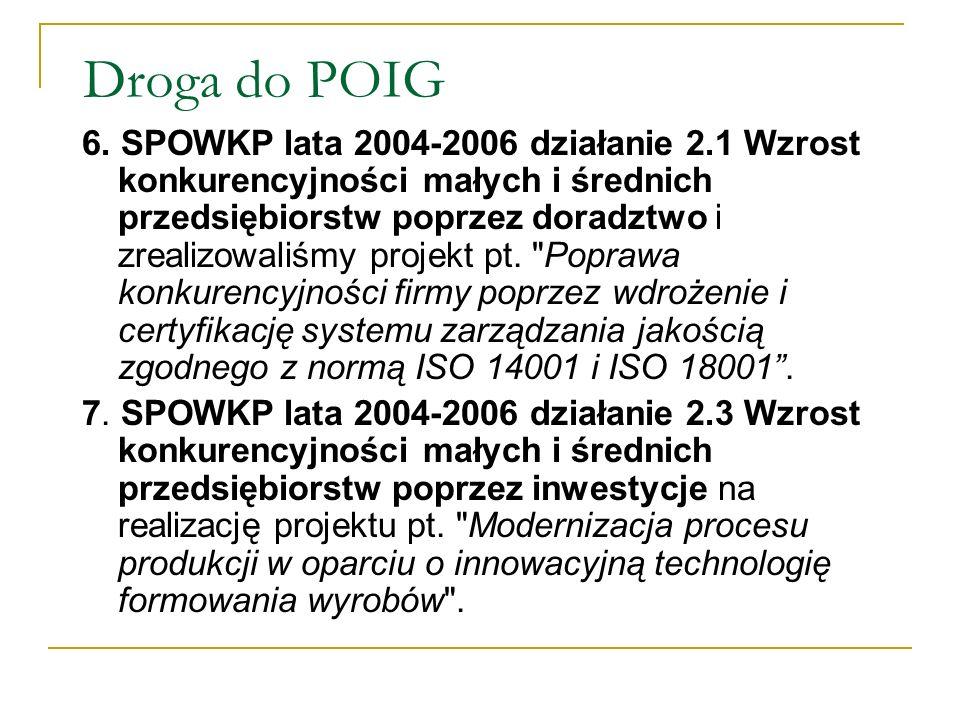 Droga do POIG 6. SPOWKP lata 2004-2006 działanie 2.1 Wzrost konkurencyjności małych i średnich przedsiębiorstw poprzez doradztwo i zrealizowaliśmy pro