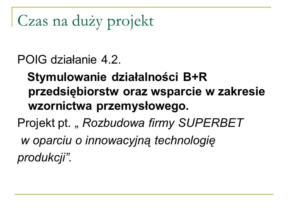 Czas na duży projekt POIG działanie 4.2. Stymulowanie działalności B+R przedsiębiorstw oraz wsparcie w zakresie wzornictwa przemysłowego. Projekt pt.