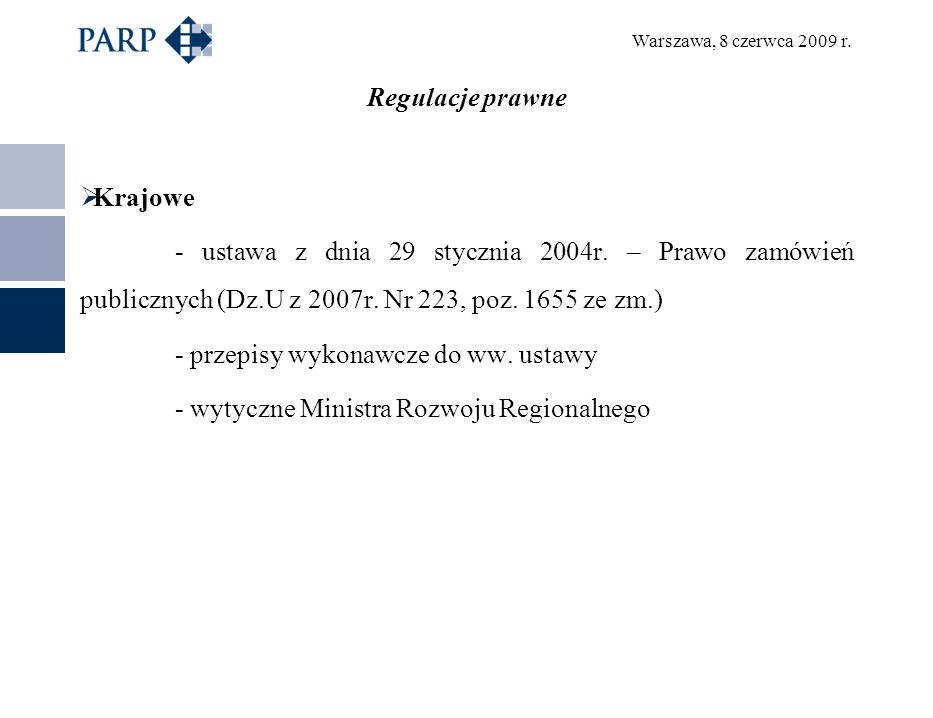 Warszawa, 8 czerwca 2009 r. Regulacje prawne Krajowe - ustawa z dnia 29 stycznia 2004r.
