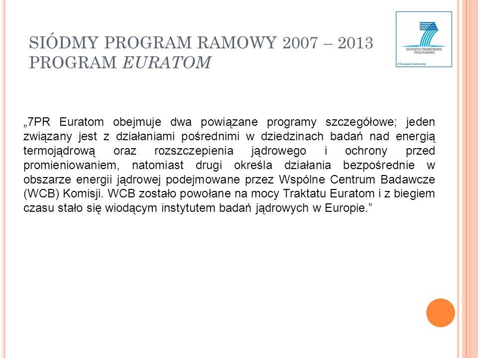 SIÓDMY PROGRAM RAMOWY 2007 – 2013 PROGRAM EURATOM 7PR Euratom obejmuje dwa powiązane programy szczegółowe; jeden związany jest z działaniami pośrednimi w dziedzinach badań nad energią termojądrową oraz rozszczepienia jądrowego i ochrony przed promieniowaniem, natomiast drugi określa działania bezpośrednie w obszarze energii jądrowej podejmowane przez Wspólne Centrum Badawcze (WCB) Komisji.
