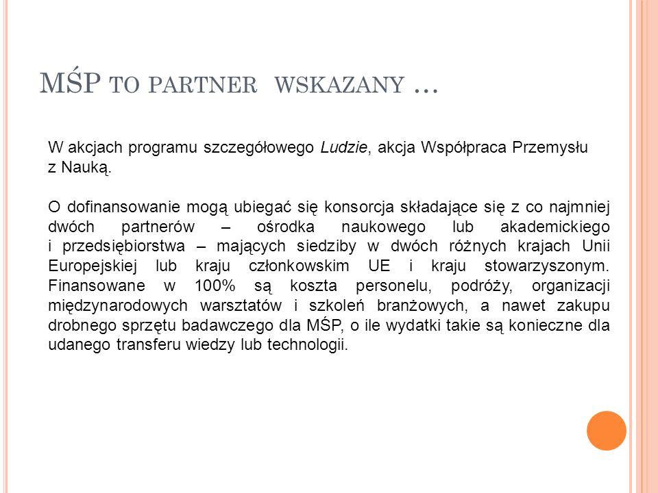 MŚP TO PARTNER WSKAZANY … W akcjach programu szczegółowego Ludzie, akcja Współpraca Przemysłu z Nauką.
