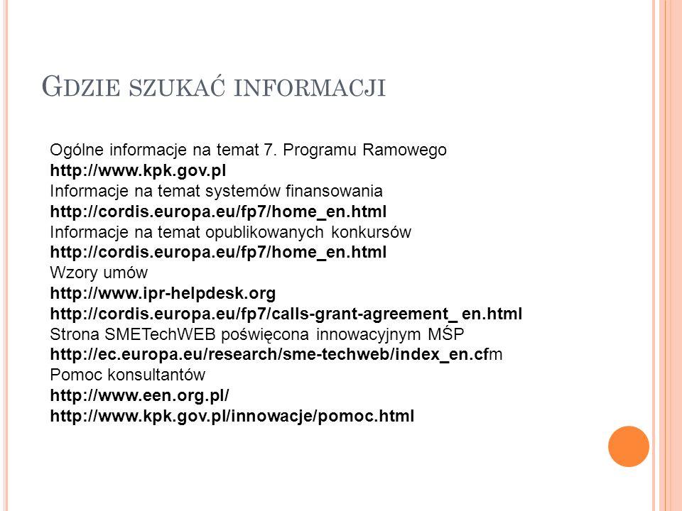 G DZIE SZUKAĆ INFORMACJI Ogólne informacje na temat 7.