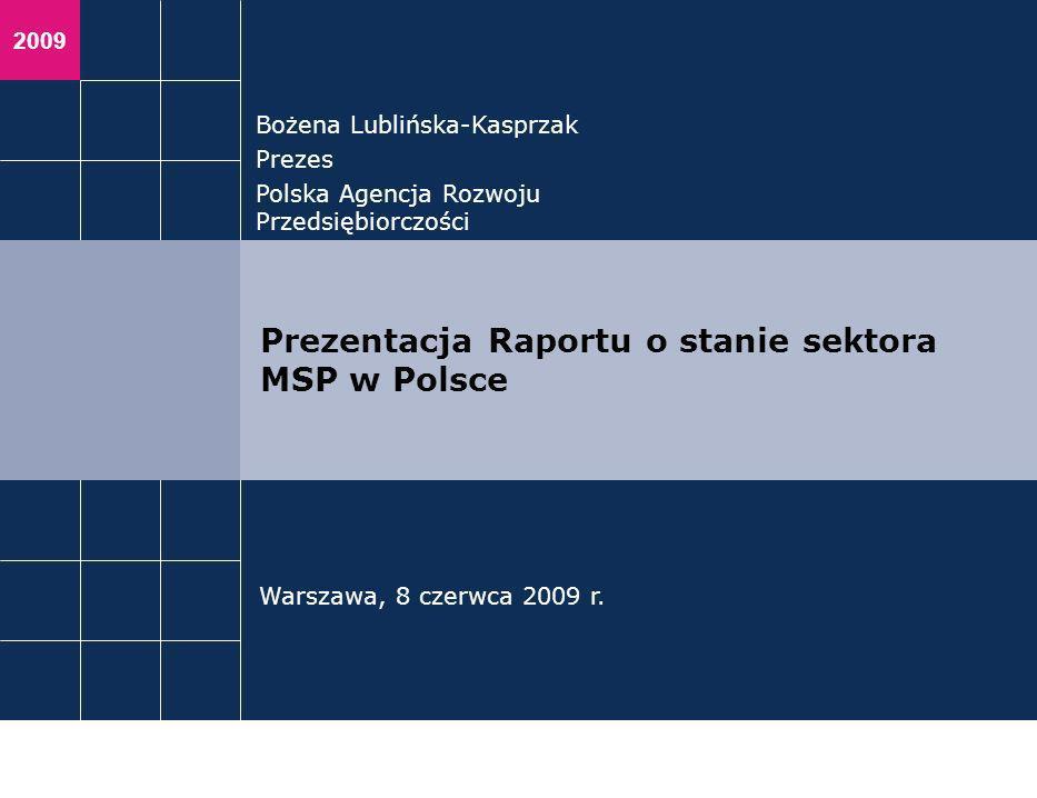 2009 Bożena Lublińska-Kasprzak Prezes Polska Agencja Rozwoju Przedsiębiorczości Warszawa, 8 czerwca 2009 r. Prezentacja Raportu o stanie sektora MSP w