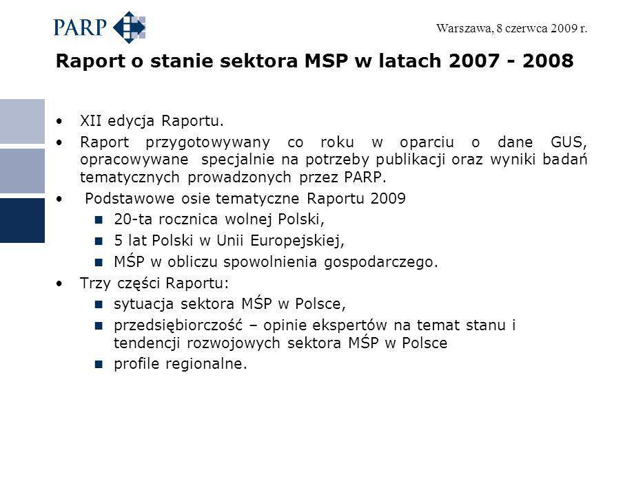 Warszawa, 8 czerwca 2009 r. Raport o stanie sektora MSP w latach 2007 - 2008 XII edycja Raportu. Raport przygotowywany co roku w oparciu o dane GUS, o