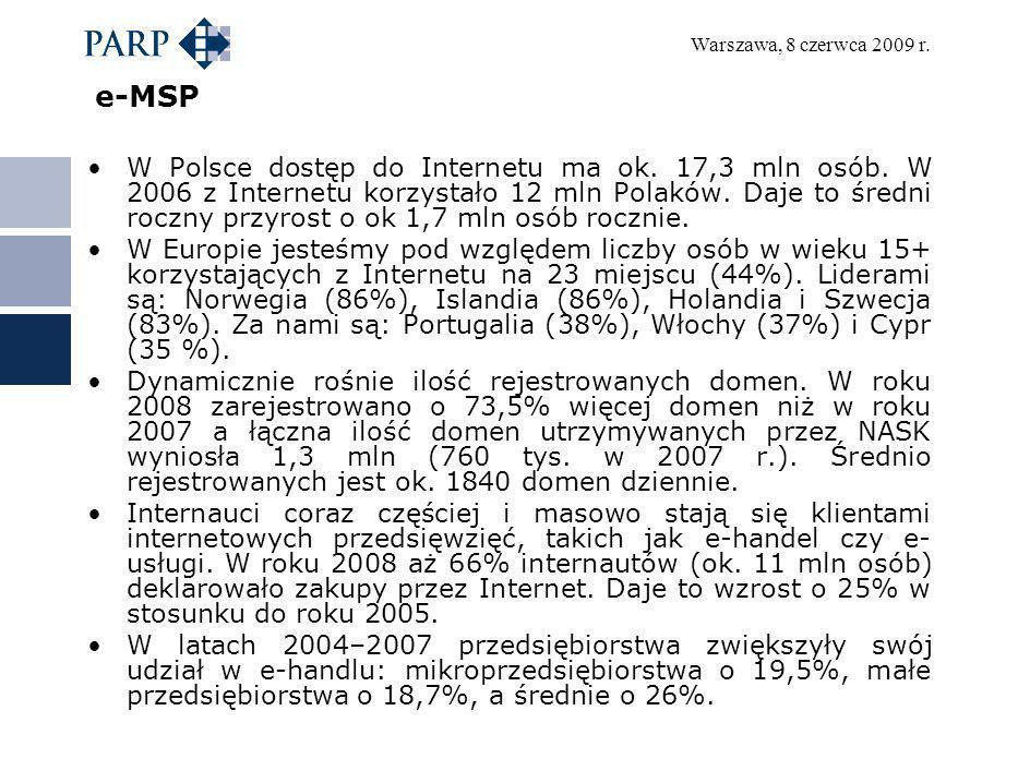 Warszawa, 8 czerwca 2009 r. e-MSP W Polsce dostęp do Internetu ma ok. 17,3 mln osób. W 2006 z Internetu korzystało 12 mln Polaków. Daje to średni rocz
