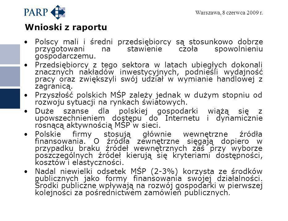 Warszawa, 8 czerwca 2009 r. Wnioski z raportu Polscy mali i średni przedsiębiorcy są stosunkowo dobrze przygotowani na stawienie czoła spowolnieniu go