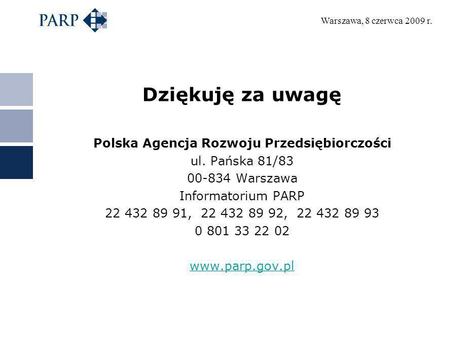 Warszawa, 8 czerwca 2009 r. Dziękuję za uwagę Polska Agencja Rozwoju Przedsiębiorczości ul. Pańska 81/83 00-834 Warszawa Informatorium PARP 22 432 89