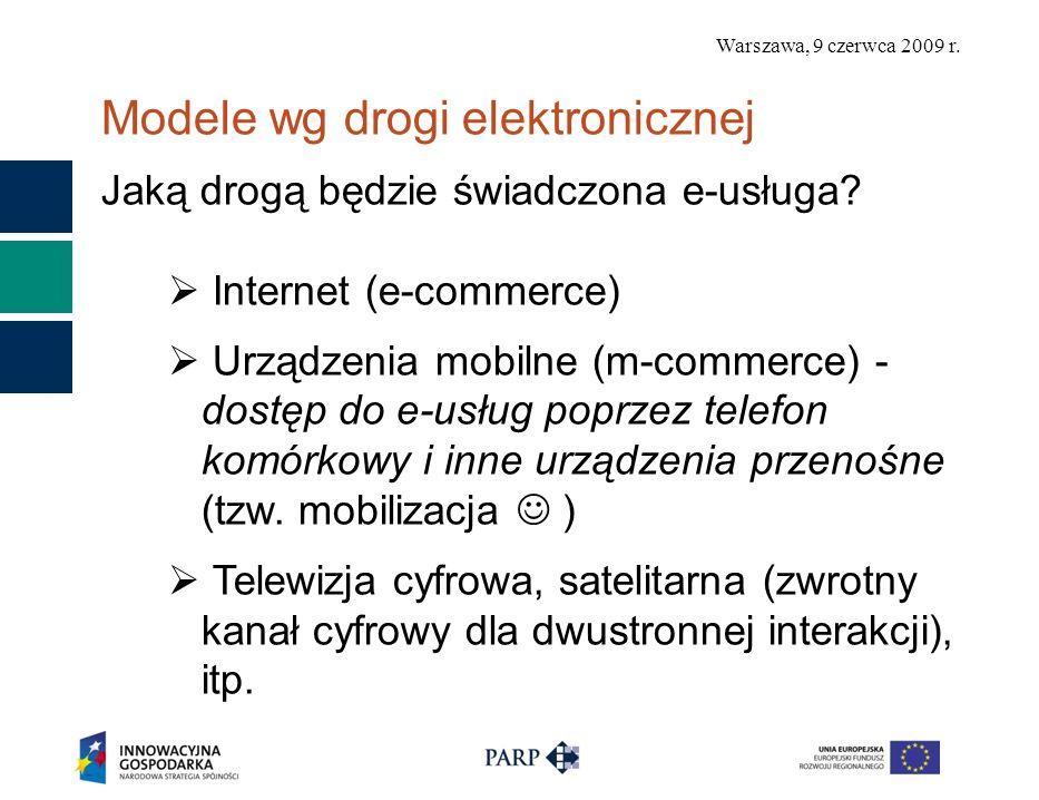 Warszawa, 9 czerwca 2009 r. Modele wg drogi elektronicznej Jaką drogą będzie świadczona e-usługa? Internet (e-commerce) Urządzenia mobilne (m-commerce