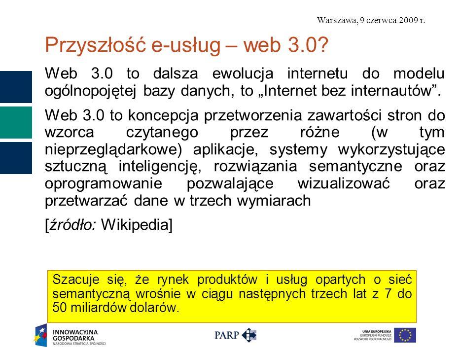 Warszawa, 9 czerwca 2009 r. Przyszłość e-usług – web 3.0? Web 3.0 to dalsza ewolucja internetu do modelu ogólnopojętej bazy danych, to Internet bez in
