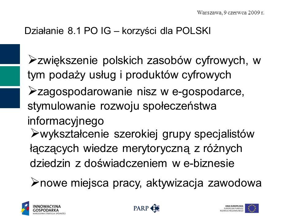 Warszawa, 9 czerwca 2009 r. Działanie 8.1 PO IG – korzyści dla POLSKI zwiększenie polskich zasobów cyfrowych, w tym podaży usług i produktów cyfrowych