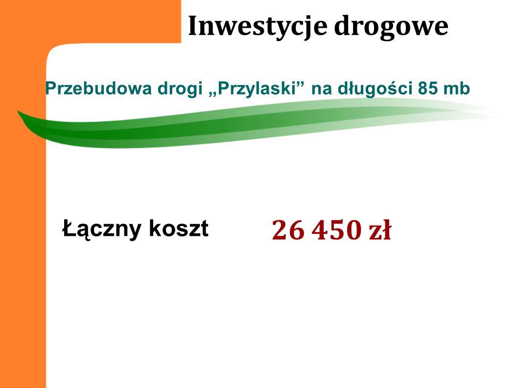 Łączny koszt Inwestycje drogowe Przebudowa drogi Przylaski na długości 85 mb 26 450 zł