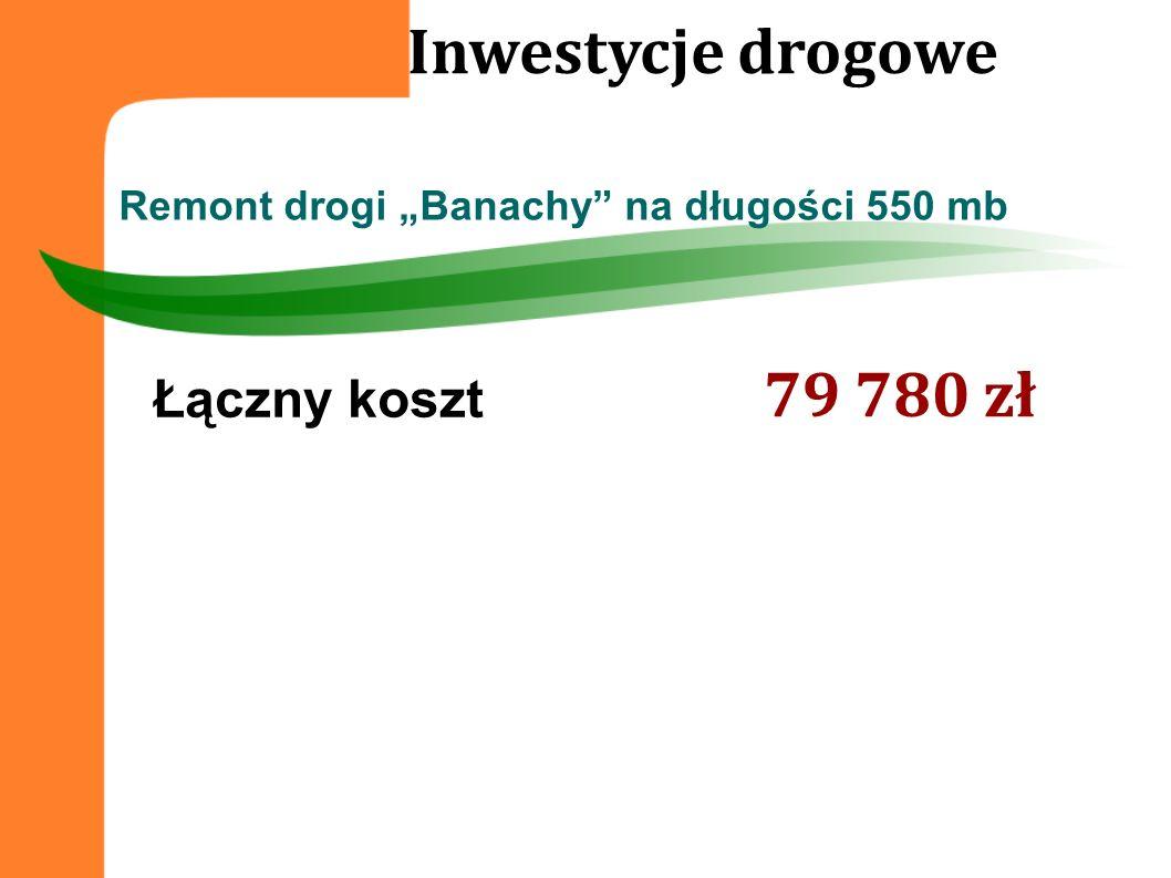 Remont drogi Banachy na długości 550 mb Inwestycje drogowe Łączny koszt 79 780 zł