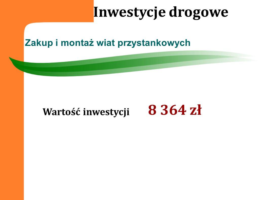 Wartość inwestycji Zakup i montaż wiat przystankowych Inwestycje drogowe 8 364 zł