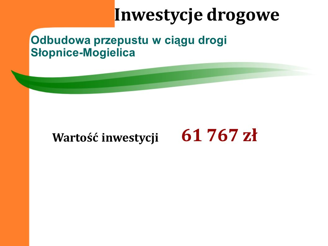 Odbudowa przepustu w ciągu drogi Słopnice-Mogielica Inwestycje drogowe Wartość inwestycji 61 767 zł