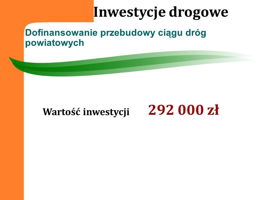 Dofinansowanie przebudowy ciągu dróg powiatowych Inwestycje drogowe Wartość inwestycji 292 000 zł