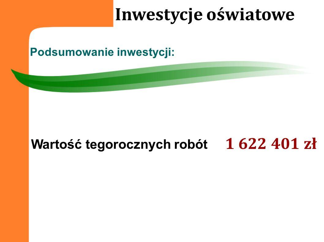 Wartość tegorocznych robót 1 622 401 zł Podsumowanie inwestycji: Inwestycje oświatowe