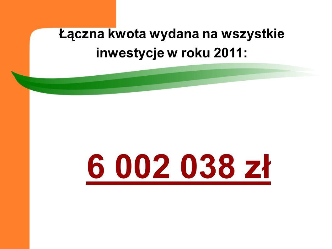 6 002 038 zł Łączna kwota wydana na wszystkie inwestycje w roku 2011: