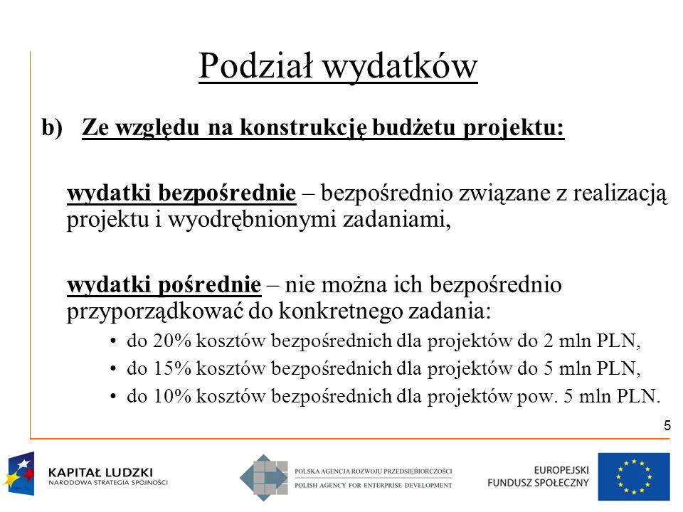 5 Podział wydatków b) Ze względu na konstrukcję budżetu projektu: wydatki bezpośrednie – bezpośrednio związane z realizacją projektu i wyodrębnionymi zadaniami, wydatki pośrednie – nie można ich bezpośrednio przyporządkować do konkretnego zadania: do 20% kosztów bezpośrednich dla projektów do 2 mln PLN, do 15% kosztów bezpośrednich dla projektów do 5 mln PLN, do 10% kosztów bezpośrednich dla projektów pow.