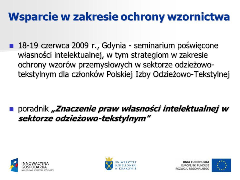 Wsparcie w zakresie ochrony wzornictwa 18-19 czerwca 2009 r., Gdynia - seminarium poświęcone własności intelektualnej, w tym strategiom w zakresie ochrony wzorów przemysłowych w sektorze odzieżowo- tekstylnym dla członków Polskiej Izby Odzieżowo-Tekstylnej 18-19 czerwca 2009 r., Gdynia - seminarium poświęcone własności intelektualnej, w tym strategiom w zakresie ochrony wzorów przemysłowych w sektorze odzieżowo- tekstylnym dla członków Polskiej Izby Odzieżowo-Tekstylnej poradnik Znaczenie praw własności intelektualnej w sektorze odzieżowo-tekstylnym poradnik Znaczenie praw własności intelektualnej w sektorze odzieżowo-tekstylnym