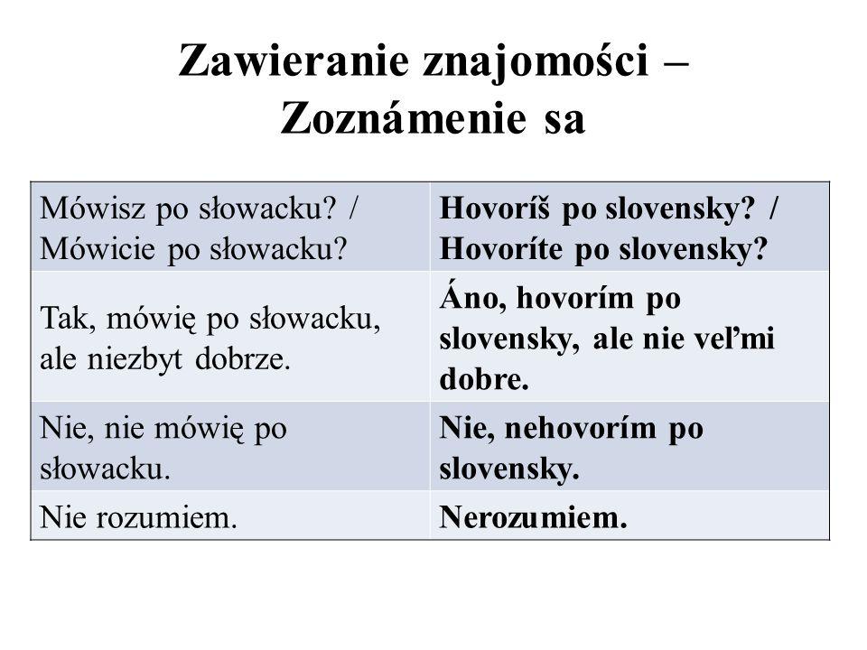 Zawieranie znajomości – Zoznámenie sa Mówisz po słowacku? / Mówicie po słowacku? Hovoríš po slovensky? / Hovoríte po slovensky? Tak, mówię po słowacku