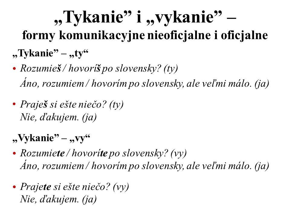 Tykanie – ty Rozumieš / hovoríš po slovensky? (ty) Áno, rozumiem / hovorím po slovensky, ale veľmi málo. (ja) Praješ si ešte niečo? (ty) Nie, ďakujem.