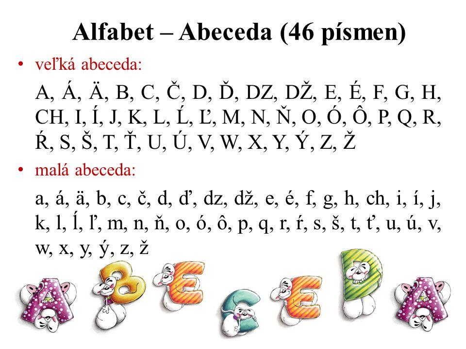 veľká abeceda: A, Á, Ä, B, C, Č, D, Ď, DZ, DŽ, E, É, F, G, H, CH, I, Í, J, K, L, Ĺ, Ľ, M, N, Ň, O, Ó, Ô, P, Q, R, Ŕ, S, Š, T, Ť, U, Ú, V, W, X, Y, Ý,