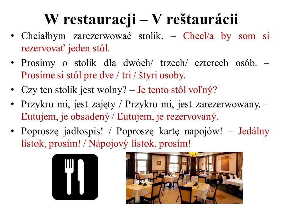 W restauracji – V reštaurácii Chciałbym zarezerwować stolik. – Chcel/a by som si rezervovať jeden stôl. Prosimy o stolik dla dwóch/ trzech/ czterech o