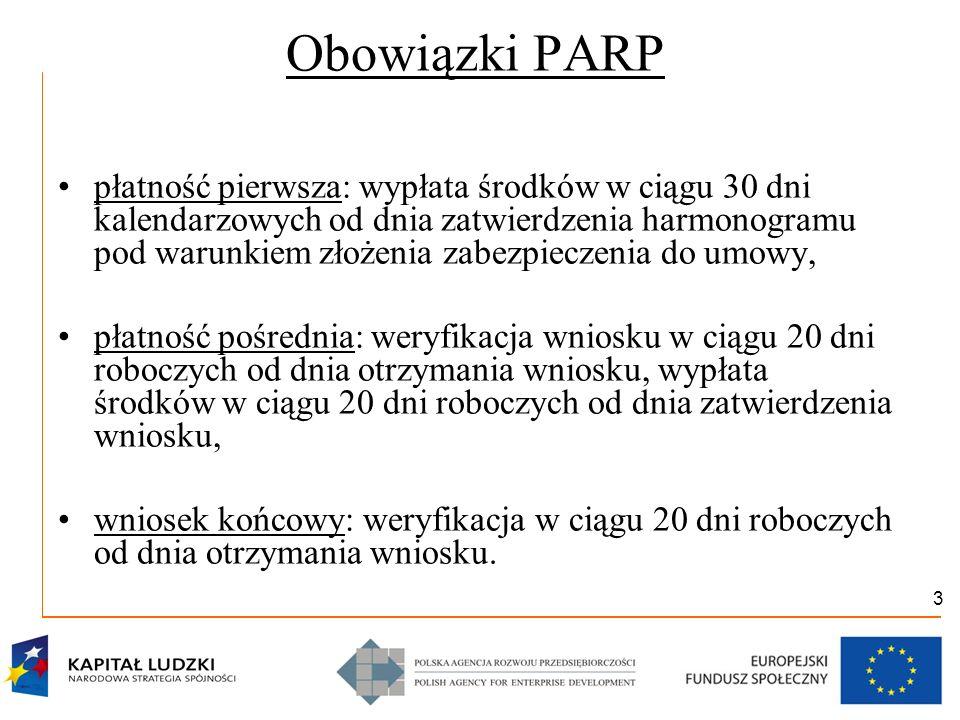 3 Obowiązki PARP płatność pierwsza: wypłata środków w ciągu 30 dni kalendarzowych od dnia zatwierdzenia harmonogramu pod warunkiem złożenia zabezpiecz