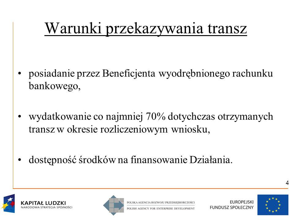 4 Warunki przekazywania transz posiadanie przez Beneficjenta wyodrębnionego rachunku bankowego, wydatkowanie co najmniej 70% dotychczas otrzymanych transz w okresie rozliczeniowym wniosku, dostępność środków na finansowanie Działania.