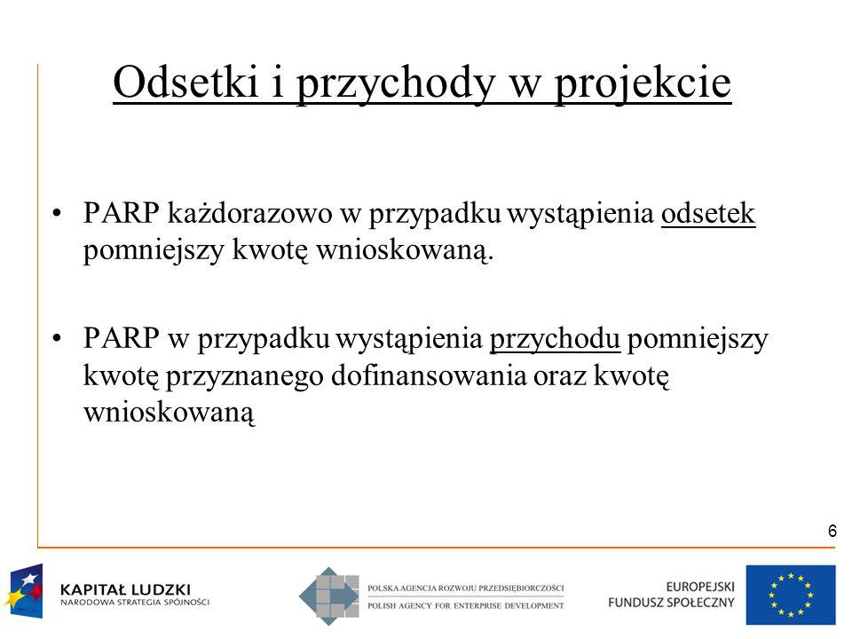 6 Odsetki i przychody w projekcie PARP każdorazowo w przypadku wystąpienia odsetek pomniejszy kwotę wnioskowaną. PARP w przypadku wystąpienia przychod
