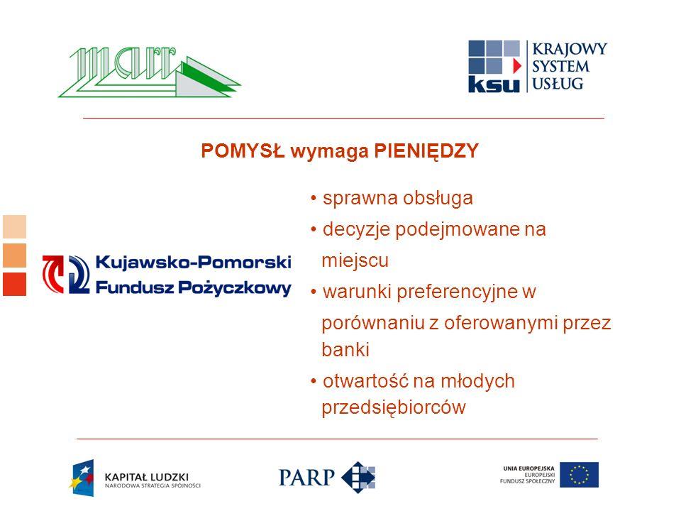 Logo ośrodka KSU sprawna obsługa decyzje podejmowane na miejscu warunki preferencyjne w porównaniu z oferowanymi przez banki otwartość na młodych przedsiębiorców POMYSŁ wymaga PIENIĘDZY