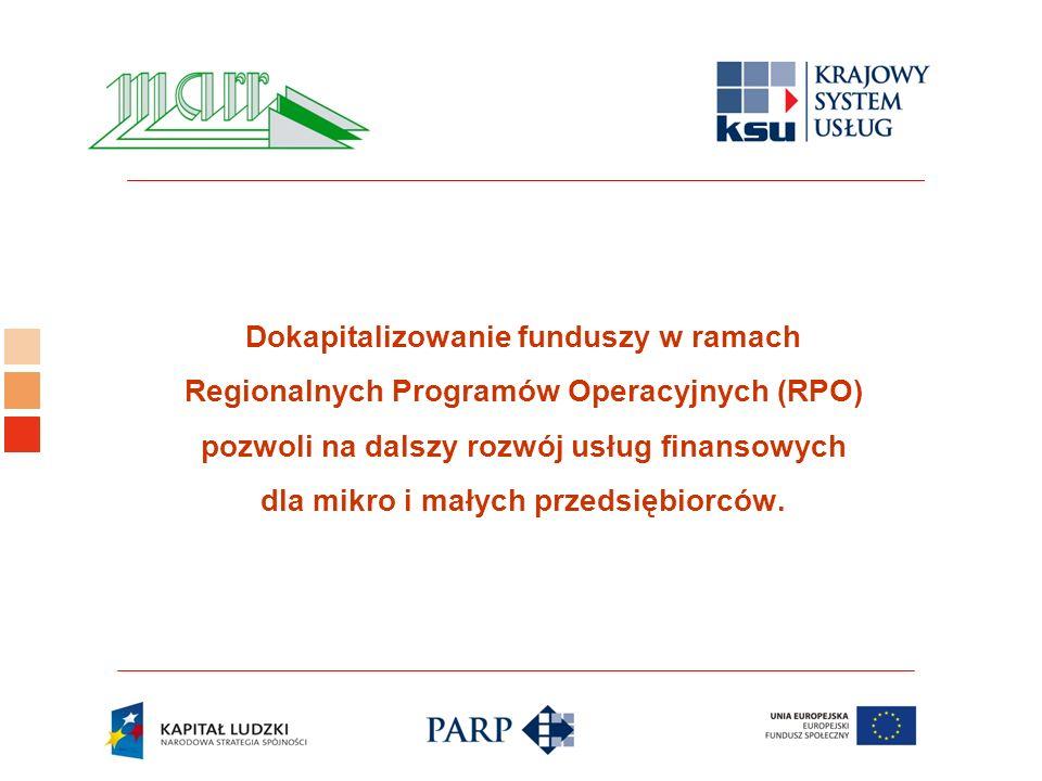 Logo ośrodka KSU Dokapitalizowanie funduszy w ramach Regionalnych Programów Operacyjnych (RPO) pozwoli na dalszy rozwój usług finansowych dla mikro i małych przedsiębiorców.