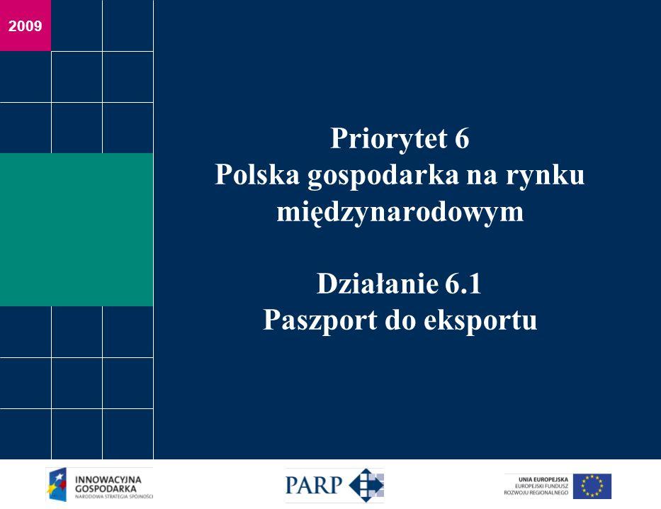 Działanie 6.1 Paszport do eksportu Budżet Całkowity budżet 121 840 000 EUR Budżet na 2009 rok 24 368 000 EUR Budżet na I rundę aplikacyjną w 2009 roku 35 609 770,66 PLN Nabór wniosków Tryb konkursowy – rundy aplikacyjne Określona alokacja na daną rundę aplikacyjną