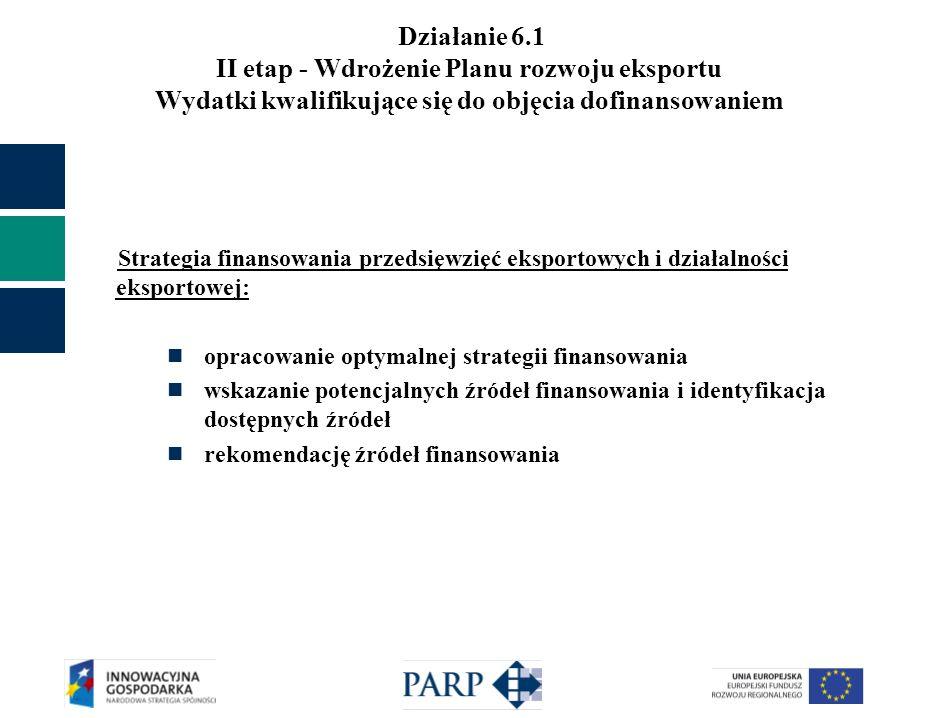 Działanie 6.1 II etap - Wdrożenie Planu rozwoju eksportu Wydatki kwalifikujące się do objęcia dofinansowaniem Strategia finansowania przedsięwzięć eks