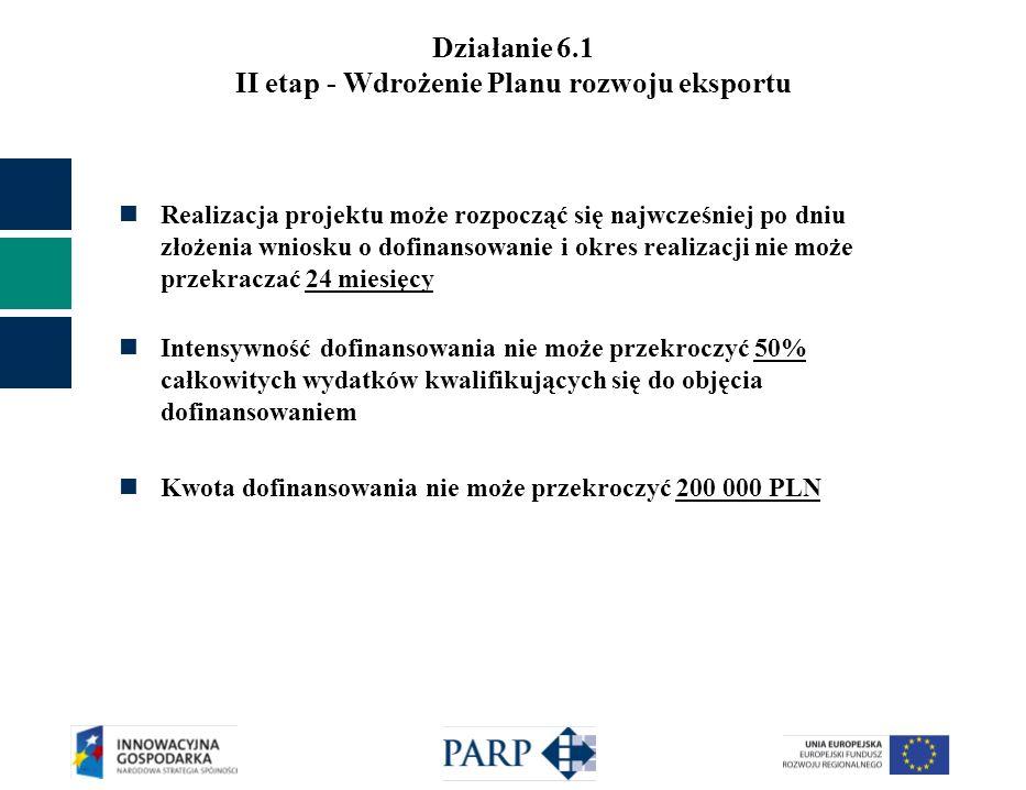 Działanie 6.1 II etap - Wdrożenie Planu rozwoju eksportu Realizacja projektu może rozpocząć się najwcześniej po dniu złożenia wniosku o dofinansowanie