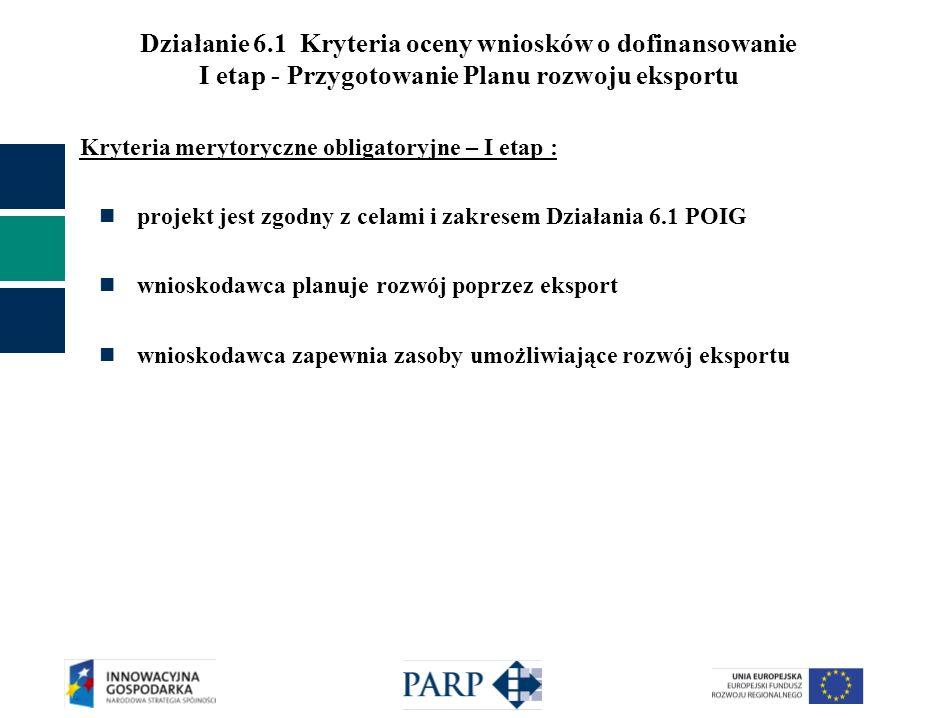 Działanie 6.1 Kryteria oceny wniosków o dofinansowanie I etap - Przygotowanie Planu rozwoju eksportu Kryteria merytoryczne obligatoryjne – I etap : pr