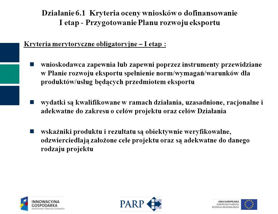 Działanie 6.1 Kryteria oceny wniosków o dofinansowanie I etap - Przygotowanie Planu rozwoju eksportu Kryteria merytoryczne obligatoryjne – I etap : wn