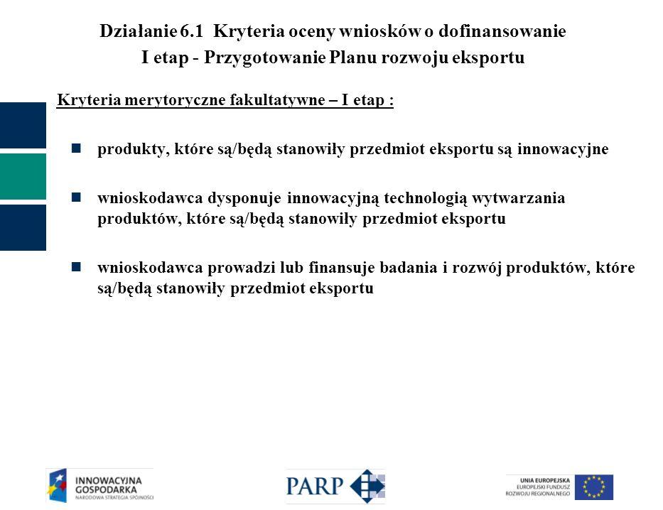 Działanie 6.1 Kryteria oceny wniosków o dofinansowanie I etap - Przygotowanie Planu rozwoju eksportu Kryteria merytoryczne fakultatywne – I etap : pro