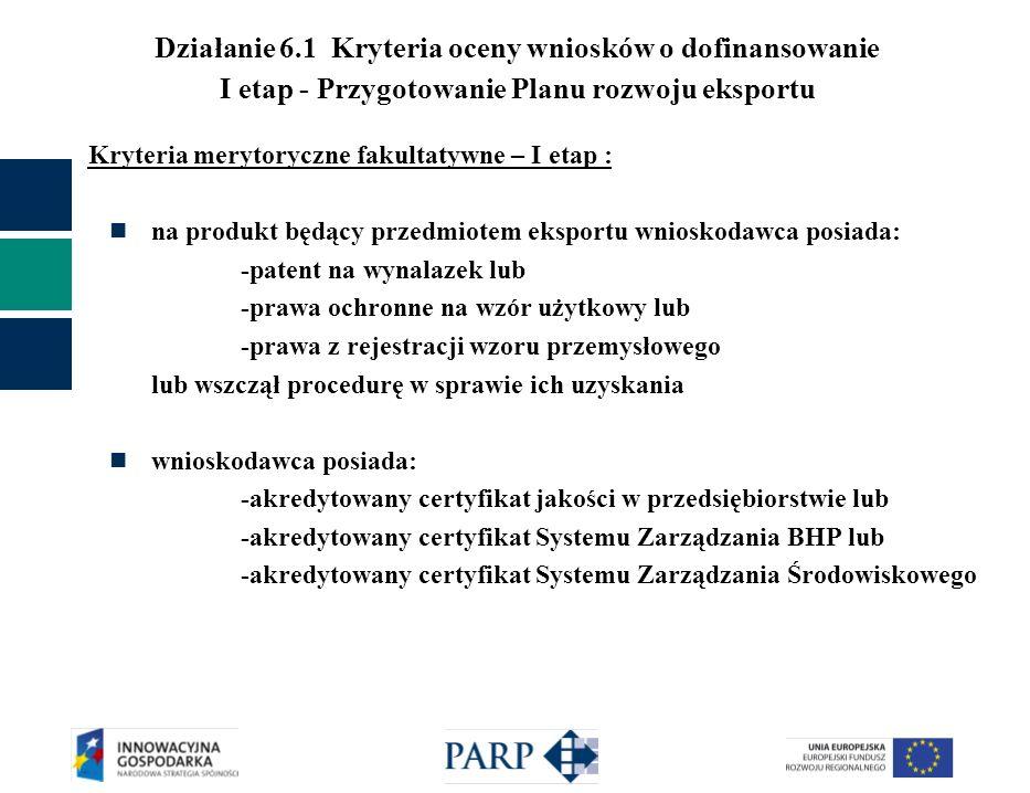 Działanie 6.1 Kryteria oceny wniosków o dofinansowanie I etap - Przygotowanie Planu rozwoju eksportu Kryteria merytoryczne fakultatywne – I etap : na