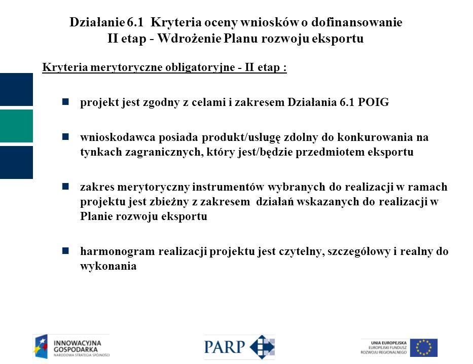 Działanie 6.1 Kryteria oceny wniosków o dofinansowanie II etap - Wdrożenie Planu rozwoju eksportu Kryteria merytoryczne obligatoryjne - II etap : proj
