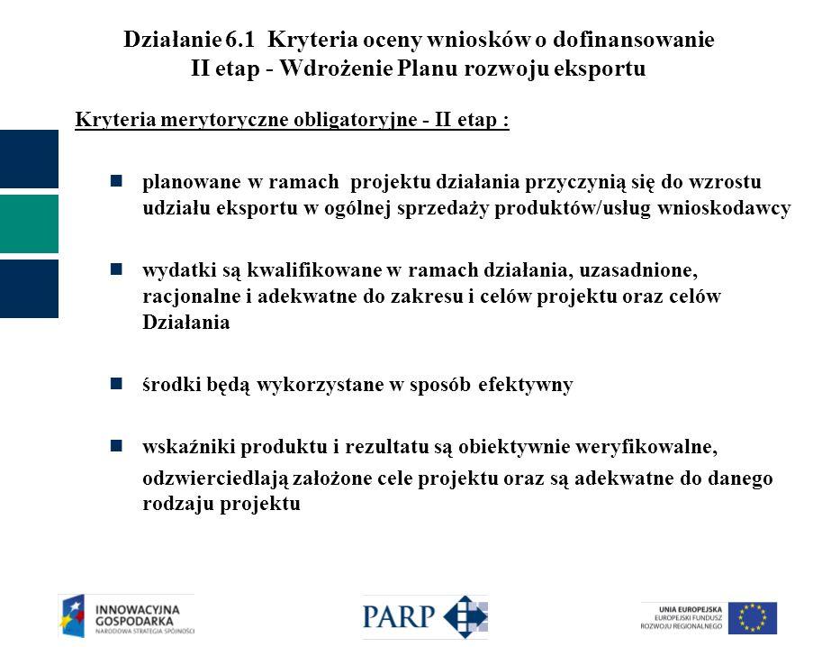 Działanie 6.1 Kryteria oceny wniosków o dofinansowanie II etap - Wdrożenie Planu rozwoju eksportu Kryteria merytoryczne obligatoryjne - II etap : plan