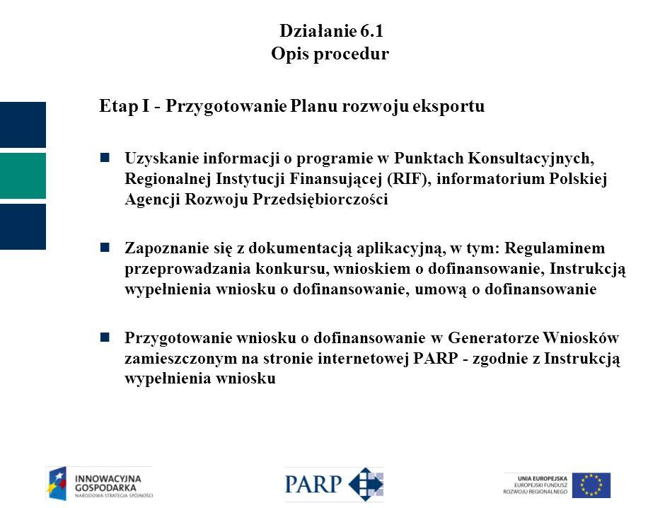 Działanie 6.1 Opis procedur Etap I - Przygotowanie Planu rozwoju eksportu Uzyskanie informacji o programie w Punktach Konsultacyjnych, Regionalnej Ins