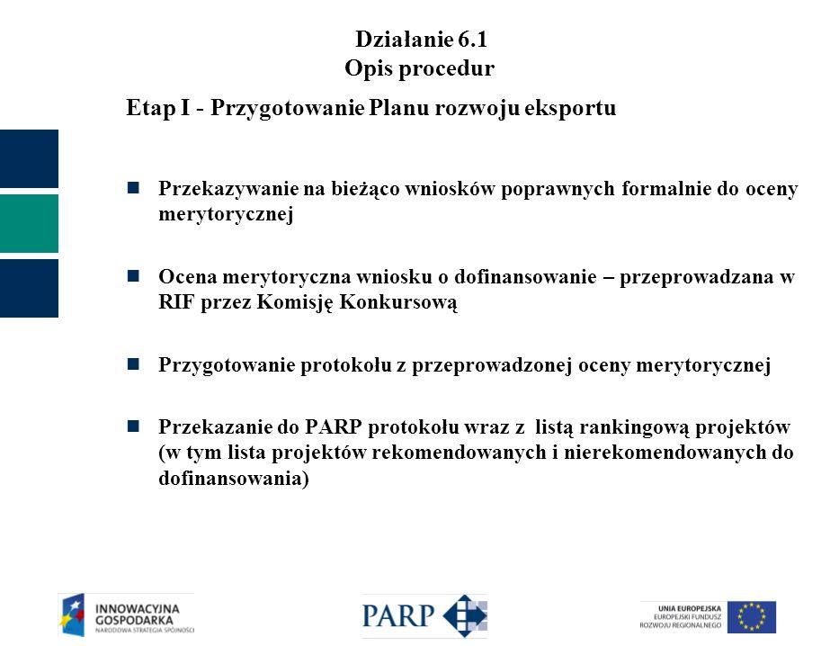 Działanie 6.1 Opis procedur Etap I - Przygotowanie Planu rozwoju eksportu Przekazywanie na bieżąco wniosków poprawnych formalnie do oceny merytoryczne