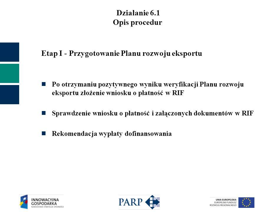 Działanie 6.1 Opis procedur Etap I - Przygotowanie Planu rozwoju eksportu Po otrzymaniu pozytywnego wyniku weryfikacji Planu rozwoju eksportu złożenie