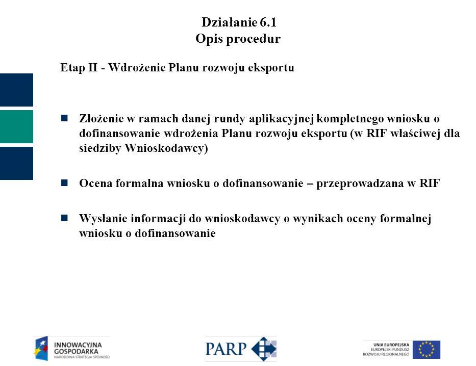 Działanie 6.1 Opis procedur Etap II - Wdrożenie Planu rozwoju eksportu Złożenie w ramach danej rundy aplikacyjnej kompletnego wniosku o dofinansowanie