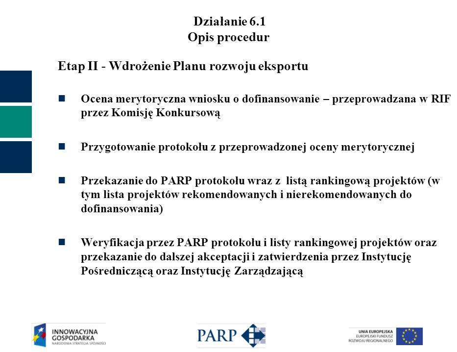 Działanie 6.1 Opis procedur Etap II - Wdrożenie Planu rozwoju eksportu Ocena merytoryczna wniosku o dofinansowanie – przeprowadzana w RIF przez Komisj