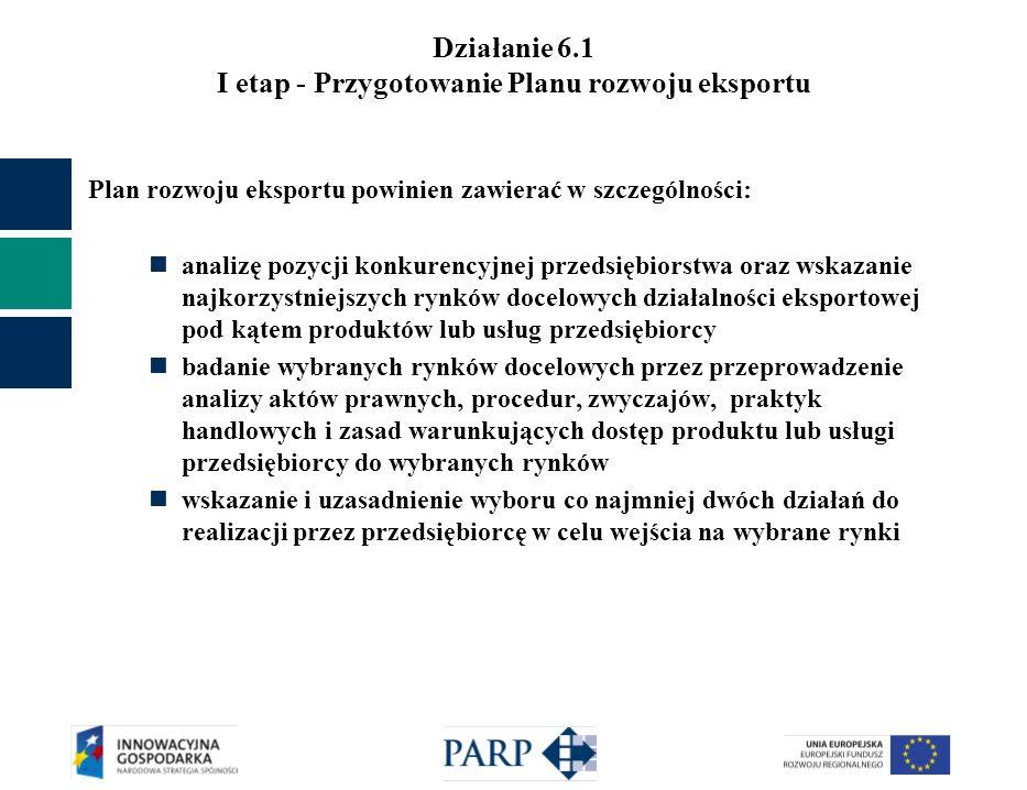 Działanie 6.1 I etap - Przygotowanie Planu rozwoju eksportu Plan rozwoju eksportu powinien zawierać następujące elementy: opracowania dotyczące analizy konkurencyjnej pod kątem produktów lub usług przedsiębiorcy opracowania dotyczące wyboru rynków docelowych działalności eksportowej opracowania dotyczące badania wybranych rynków docelowych opis bieżącej sytuacji przedsiębiorstwa w najważniejszych obszarach funkcjonowania i prognozy rozszerzenia działalności przedsiębiorcy ze szczególnym uwzględnieniem rozwoju poprzez eksport