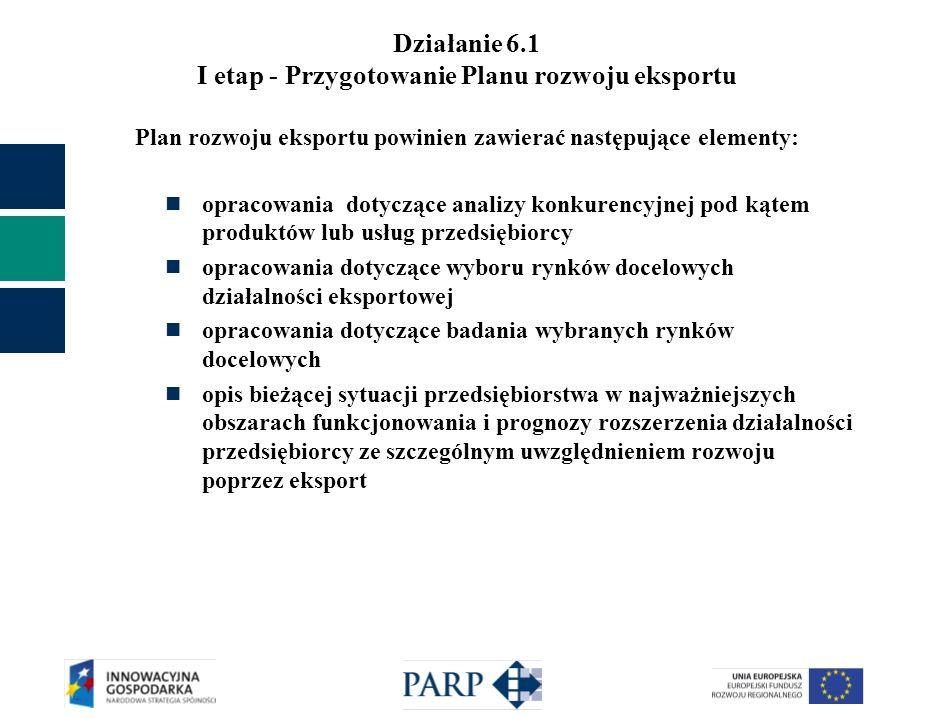 Działanie 6.1 I etap - Przygotowanie Planu rozwoju eksportu Plan rozwoju eksportu powinien zawierać następujące elementy: analizę SWOT dla eksportu każdego rodzaju produktu/usługi na każdym z planowanych rynków docelowych opis celów i strategii eksportowej rekomendację rozwoju działalności eksportowej szacowaną wielkość kosztów niezbędnych do sfinansowania działań koniecznych do zrealizowania opracowanej strategii wstępny harmonogram wdrażania strategii eksportowej Plan rozwoju eksportu powinien w sposób kompleksowy określać strategię eksportową do realizacji w kolejnych dwóch latach