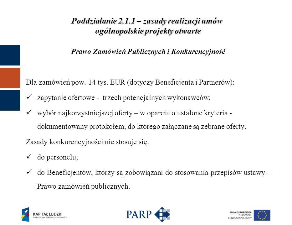 Poddziałanie 2.1.1 – zasady realizacji umów ogólnopolskie projekty otwarte Prawo Zamówień Publicznych i Konkurencyjność Dla zamówień pow. 14 tys. EUR